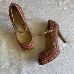 Coach pink peep toe floral mary jane pumps sz 9